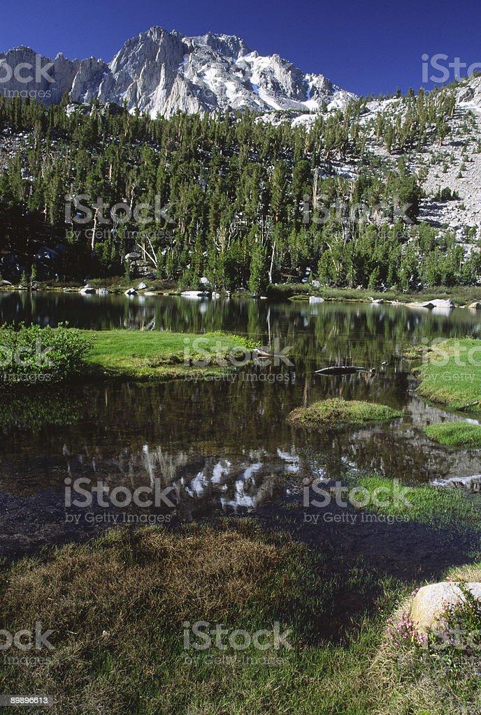 Alpine lake in California mountains stock photo