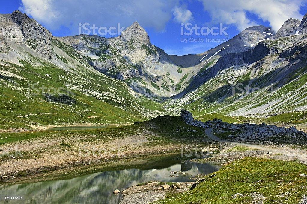 Alpine lake in central Switzerland stock photo