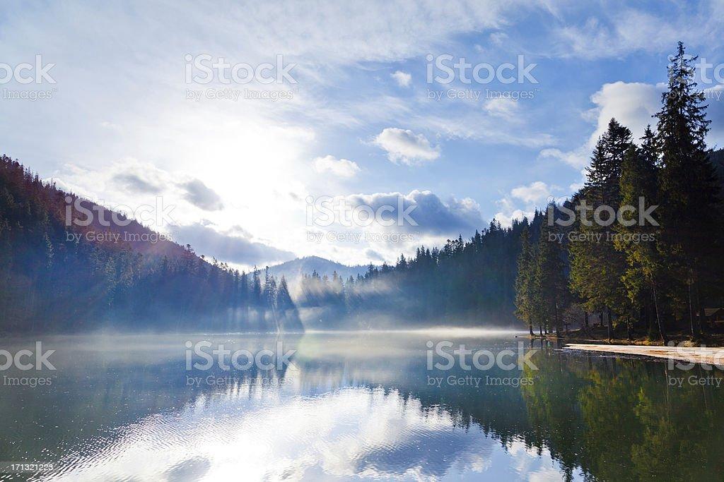 Alpine lake in Fog royalty-free stock photo
