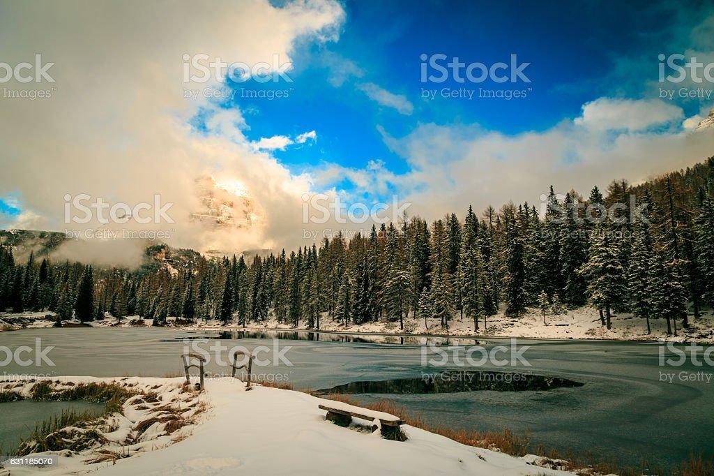 Alpine lake in front of Tre Cime di Lavaredo stock photo
