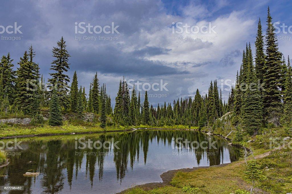 Alpine Lake in Revelstoke National Park British Columbia Canada stock photo