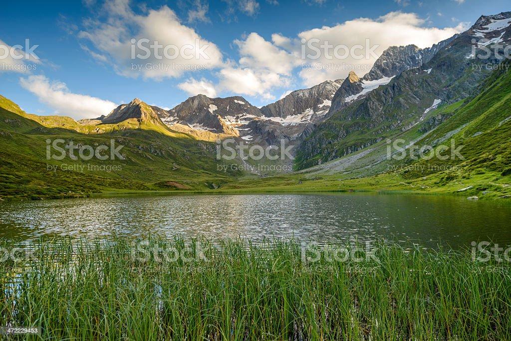 Alpine lake in South Tyrol, Italian Alps stock photo