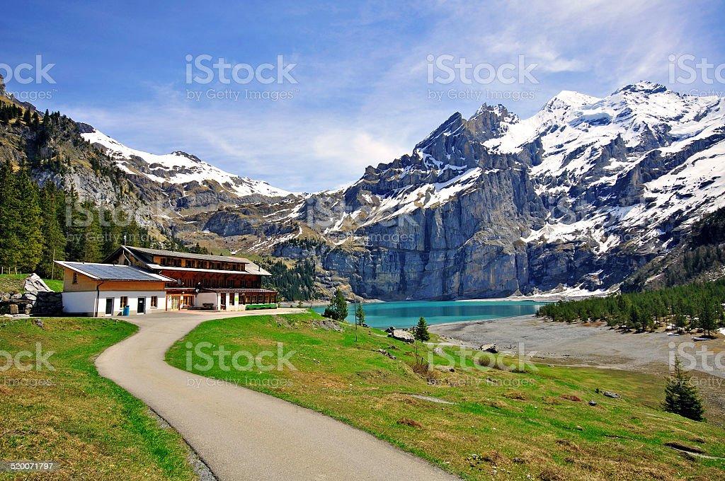 Alpine lake in Switzerland stock photo