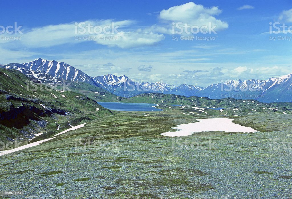 Alpine Lake in the Alaskan Wilds stock photo