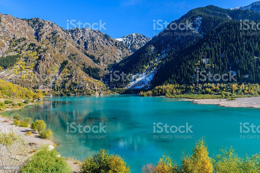 Alpine lake Issyk stock photo