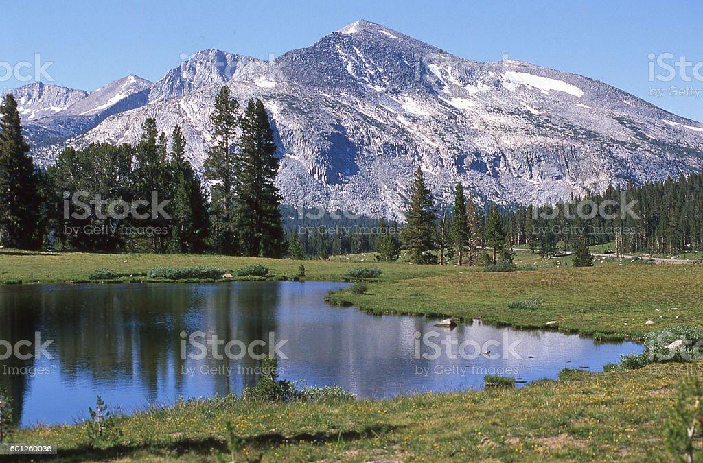 alpine lake Mount Dana Sierra Nevada Mountains Yosemite California stock photo