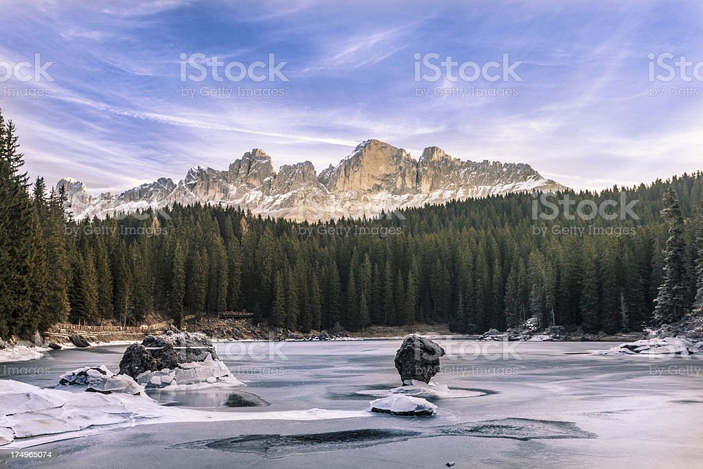 Alpine Lake of Carezza in the Dolomites, Italy royalty-free stock photo