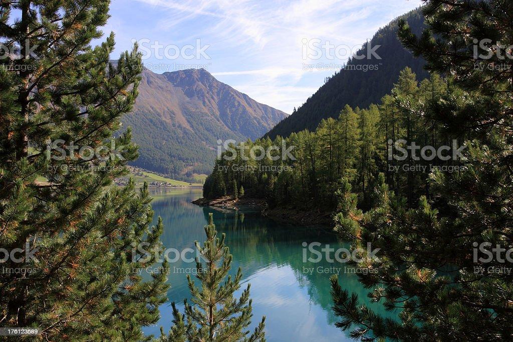 Alpine lake of Vernag (Schnalstal) stock photo