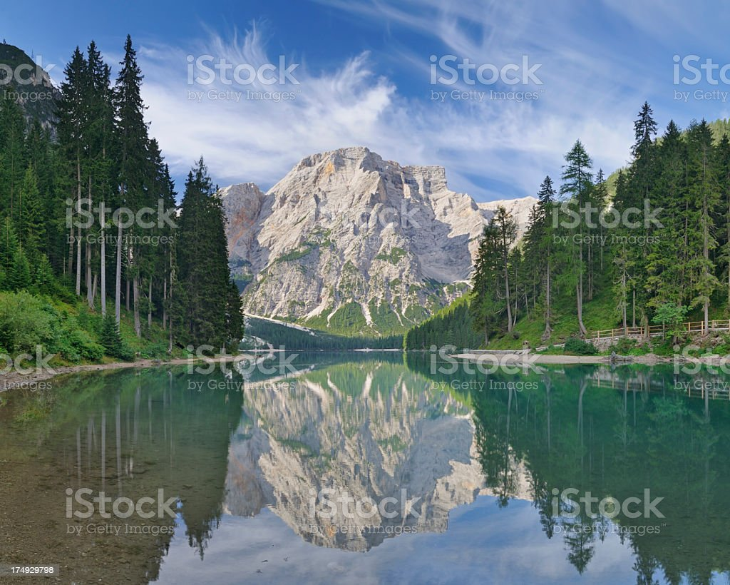 Alpine Lake (Lago di Braies - Pragser Wildsee) stock photo