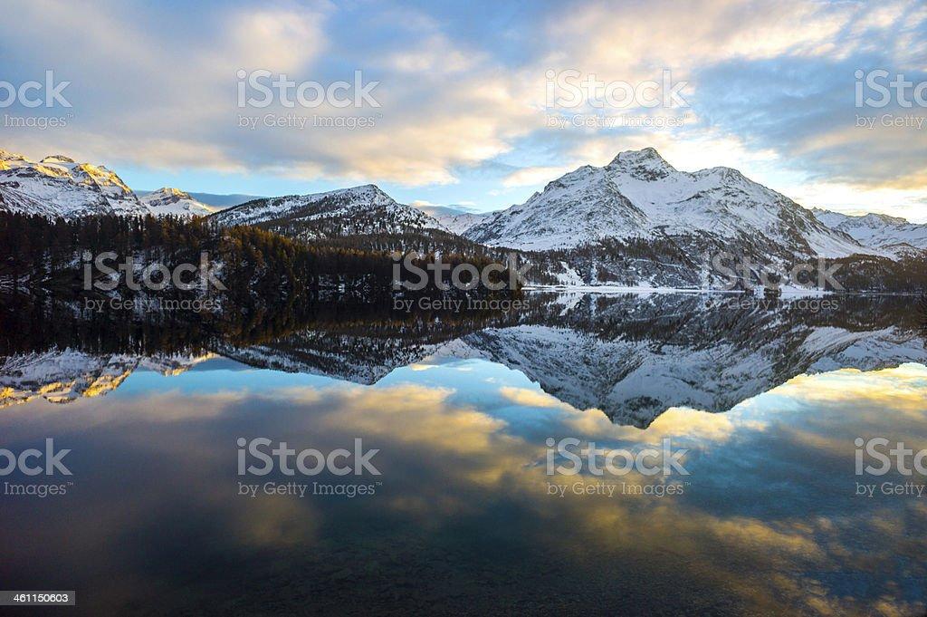Alpine lake reflection royalty-free stock photo