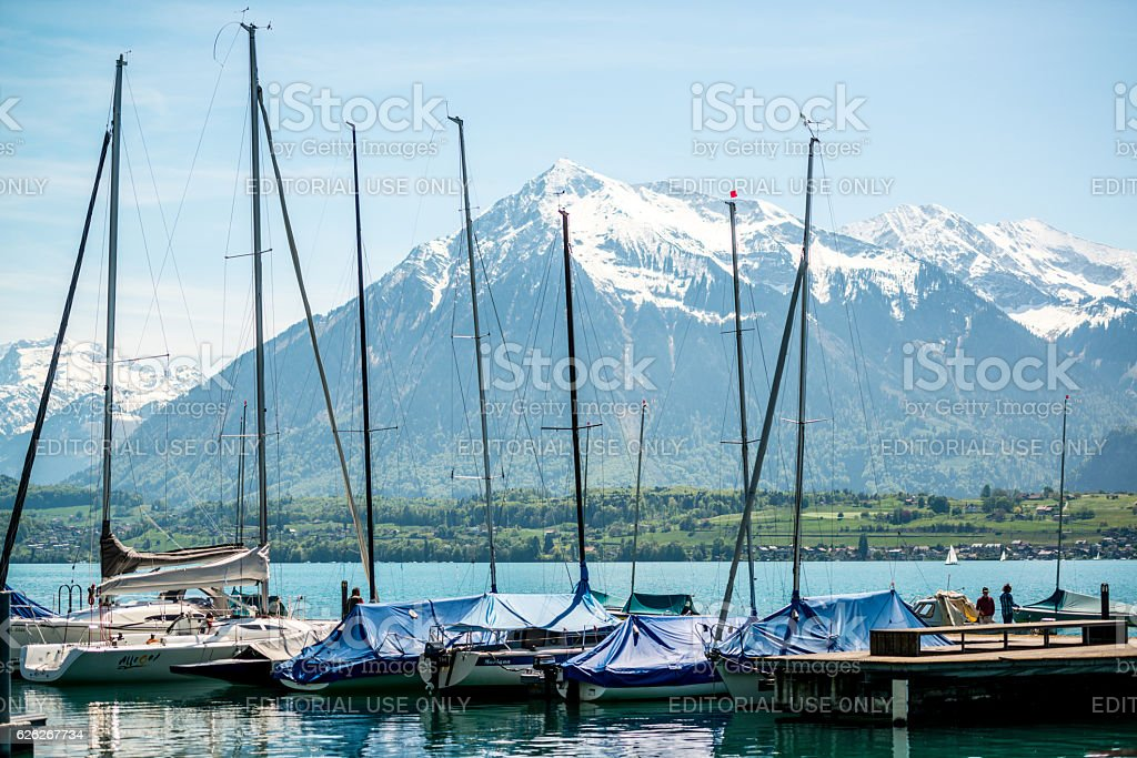 Alpine Lake Thun, Switzerland stock photo