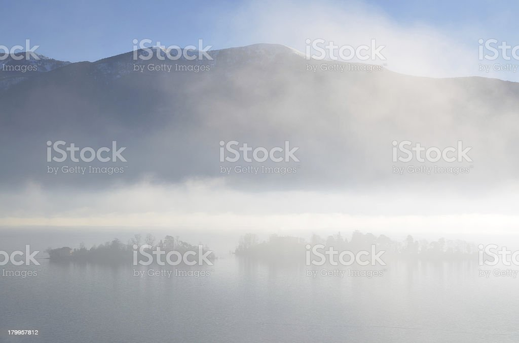 Alpine lake with islands royalty-free stock photo