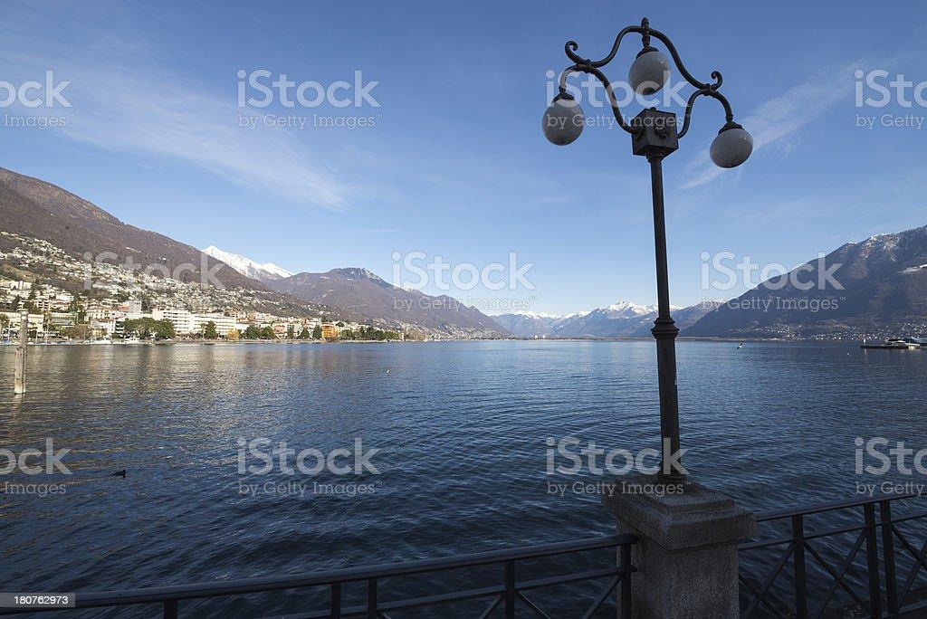 Alpine lake with mountain royalty-free stock photo