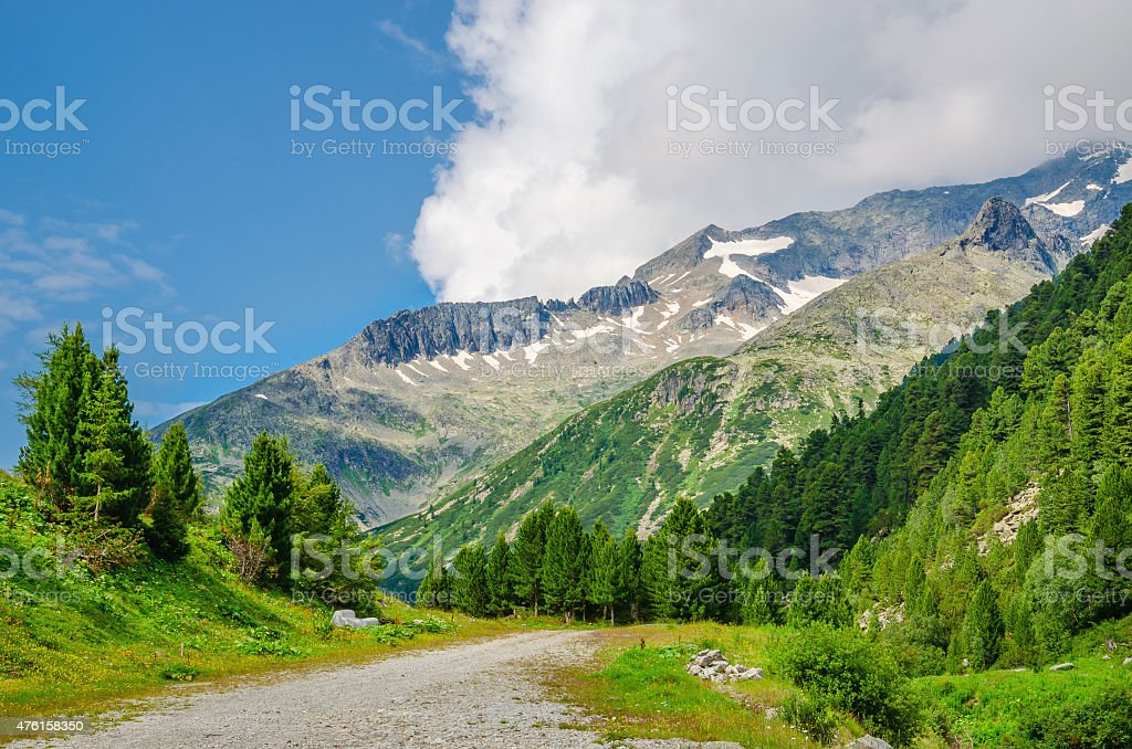 Alpine landscape and high mountain peaks, Austria stock photo