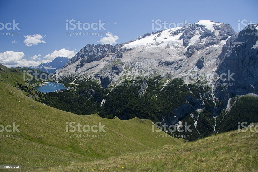 Alpine Landscape, Fedaia Lake, Mt. Marmolada, Summer Dolomites royalty-free stock photo