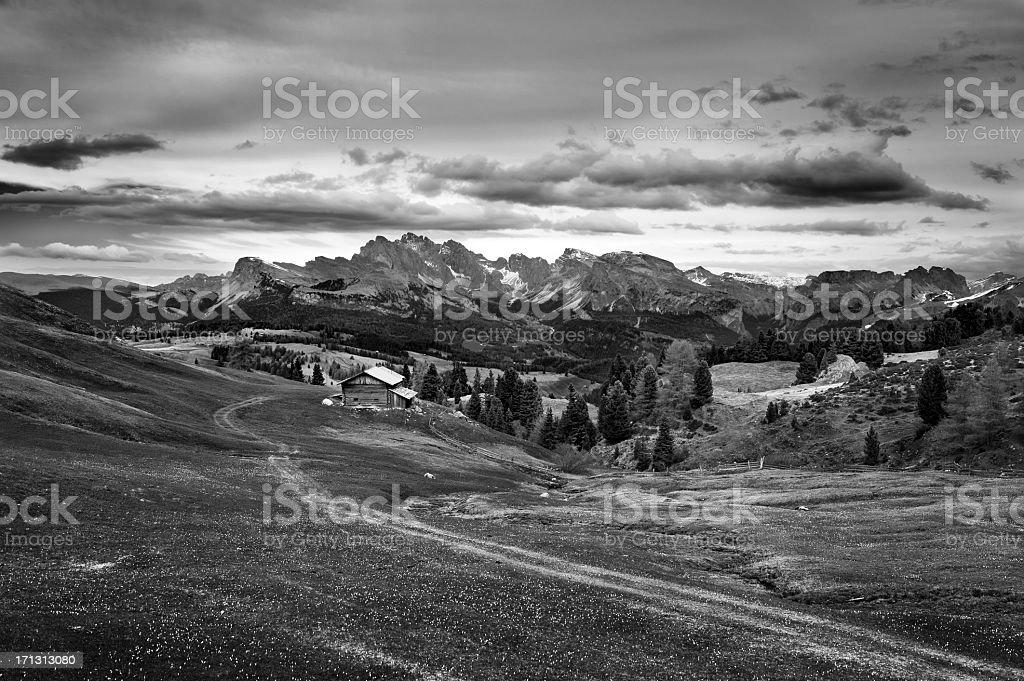 Alpine landscape in B&W royalty-free stock photo