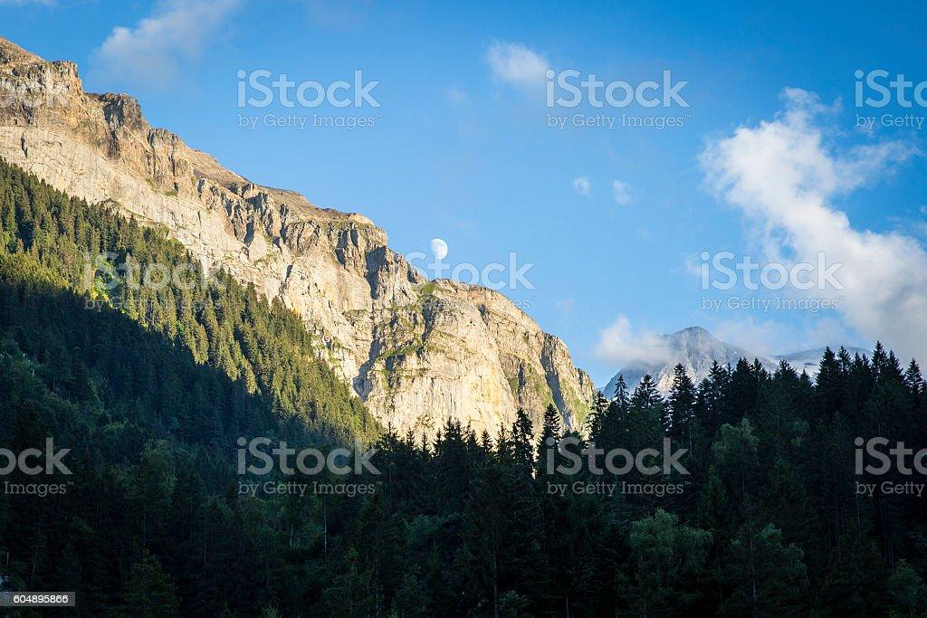 alpine landscape in summer, Alps mountain massif, Switzerland stock photo