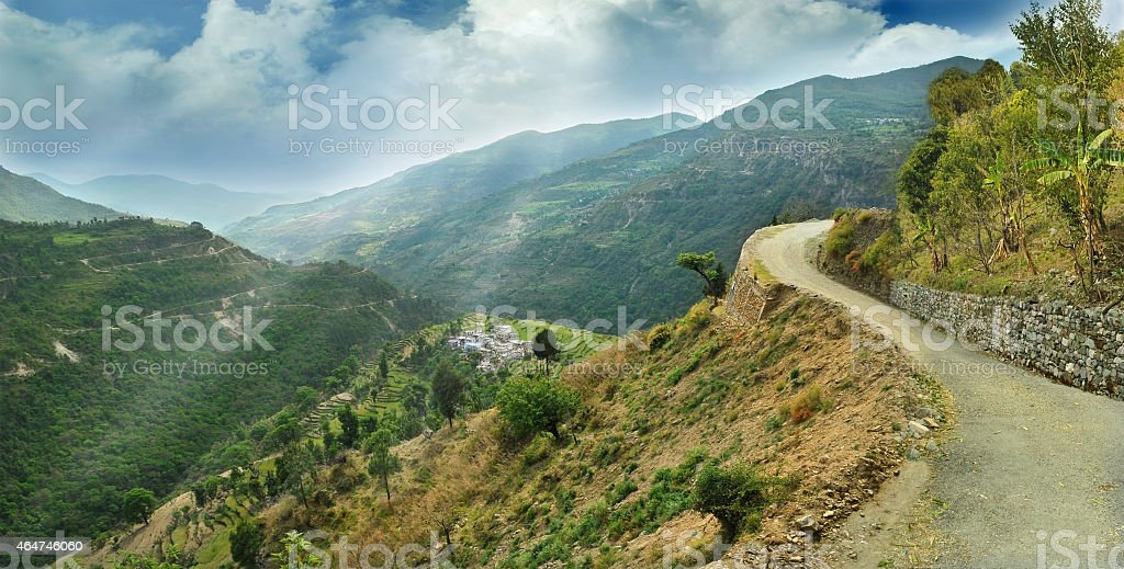 alpine landscape in the Himalayas stock photo