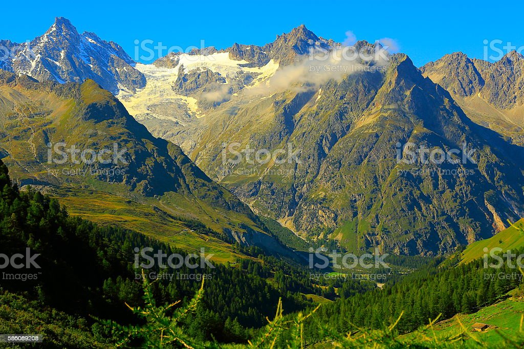 Alpine landscape, Mont Blanc, Grandes Jorasses pinnacles, Italian alps, Aosta stock photo