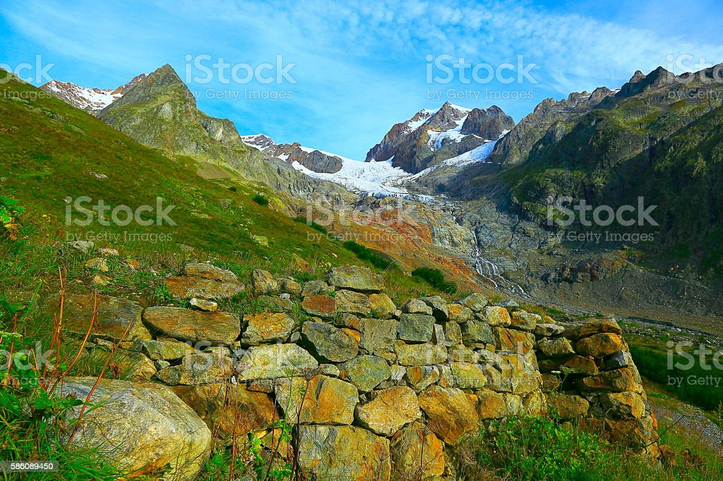 Alpine landscape, Mont Blanc, Grandes Jorasses pinnacles, Italian alps, Aosta stock photo