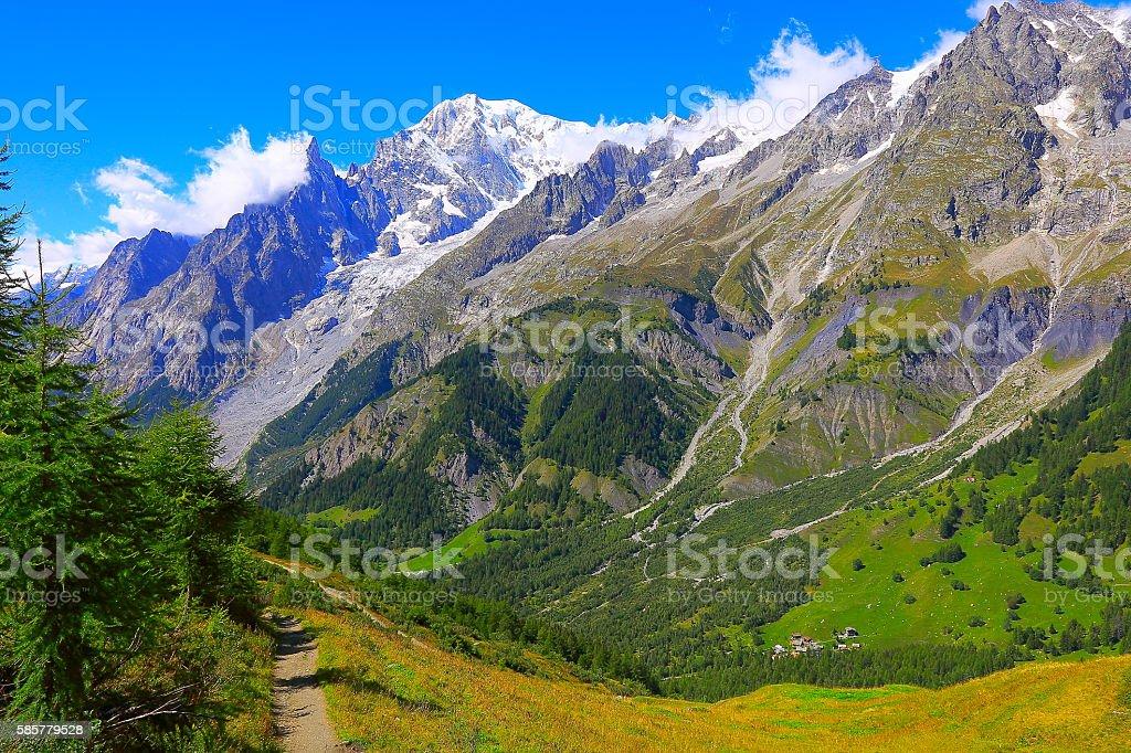 Alpine landscape, Mont Blanc massif pinnacles, hiking trail, Italian aosta stock photo