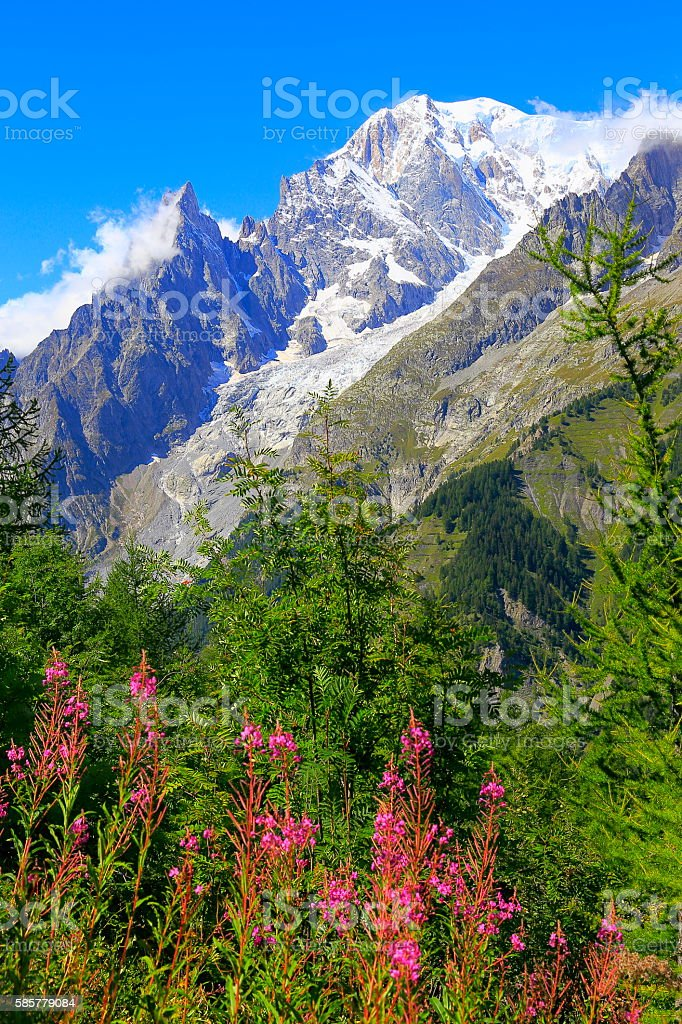 Alpine landscape, Mont Blanc massif pinnacles, Italian aosta alps stock photo