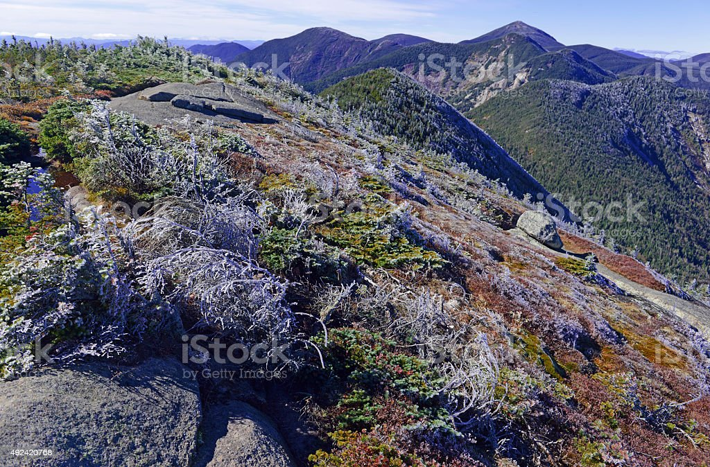 Alpine landscape on climb of Gothics Mountain, Adirondacks, New York stock photo