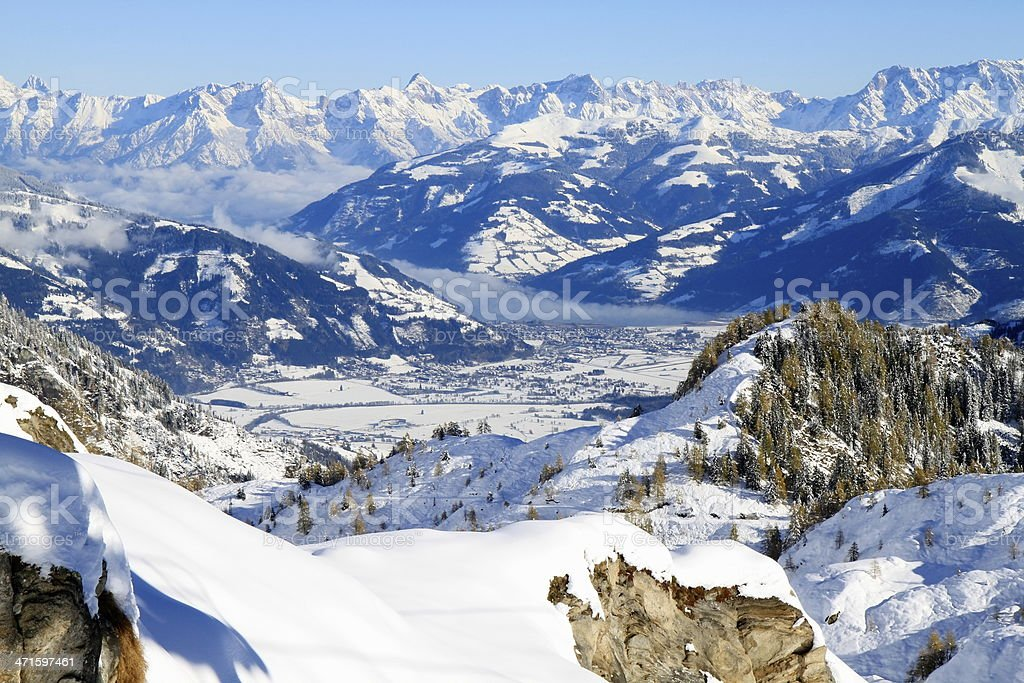 Alpine landscape panorama in Tirol - Alps, Austria stock photo