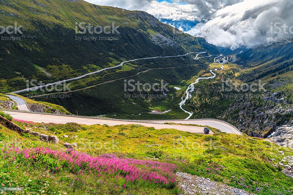 Alpine landscape with curved road,Furka Pass,Switzerland,Europe stock photo