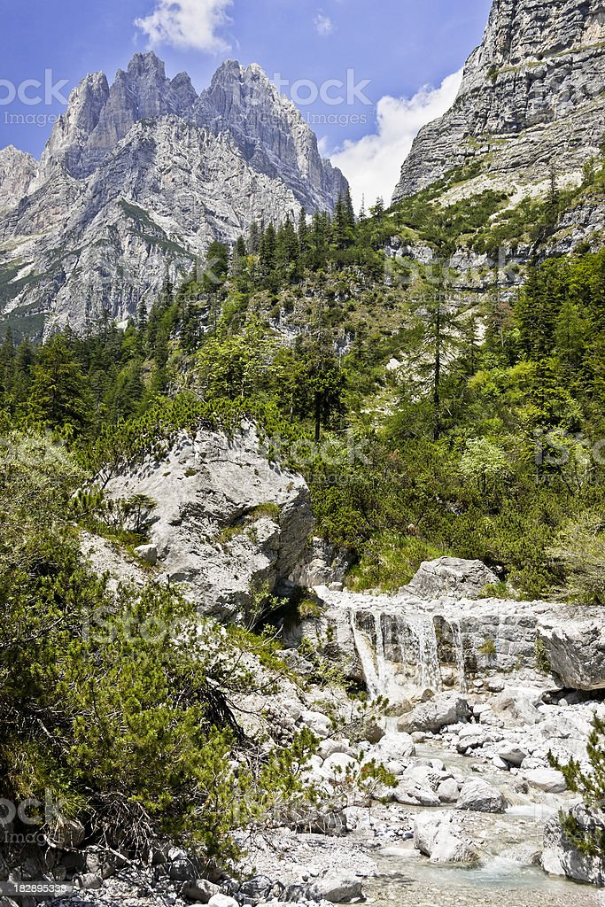 Alpine Landscape with Little Stream, Dolomites in Summer royalty-free stock photo