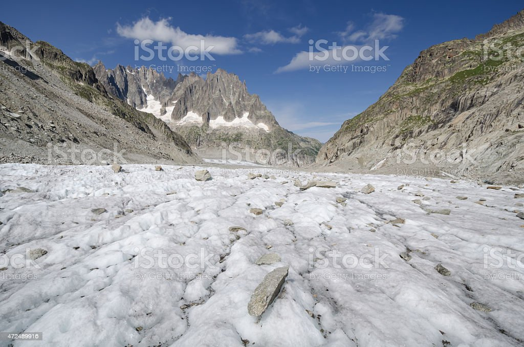 Alpine landscape with mountains and glacier stock photo