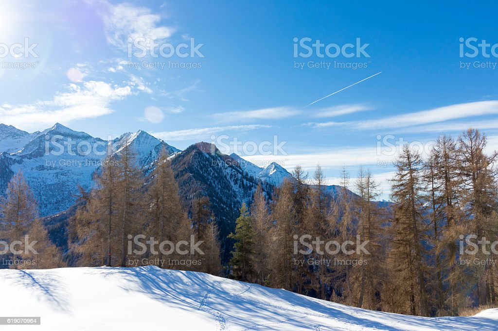 Alpine landscape with mountains, trees and snow stock photo