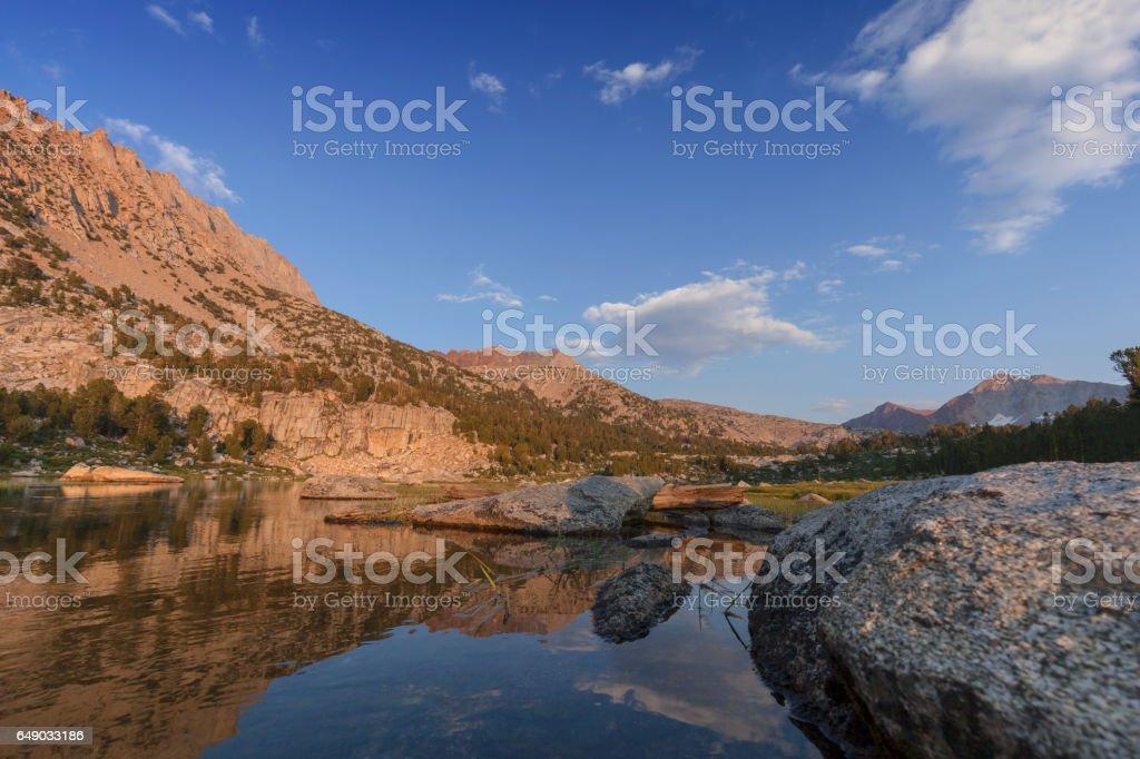 Alpine Meadow Sunset stock photo