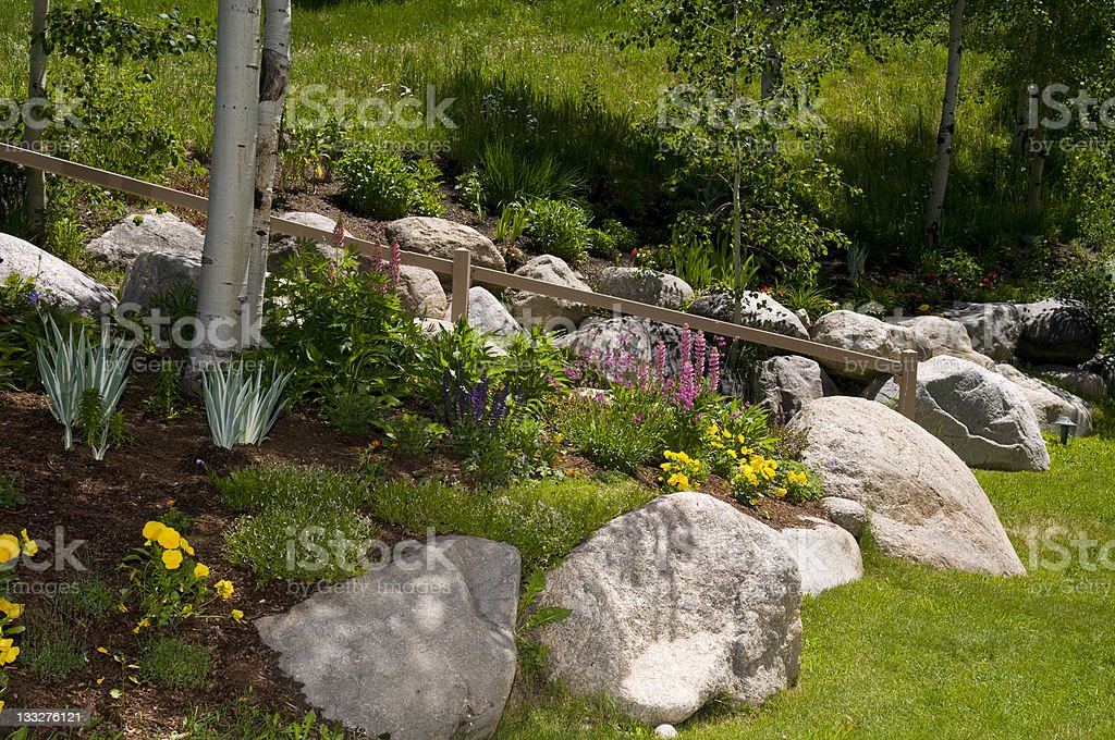 Alpine Mountain Home Garden with Rocks and Landscaping in Summer stock photo