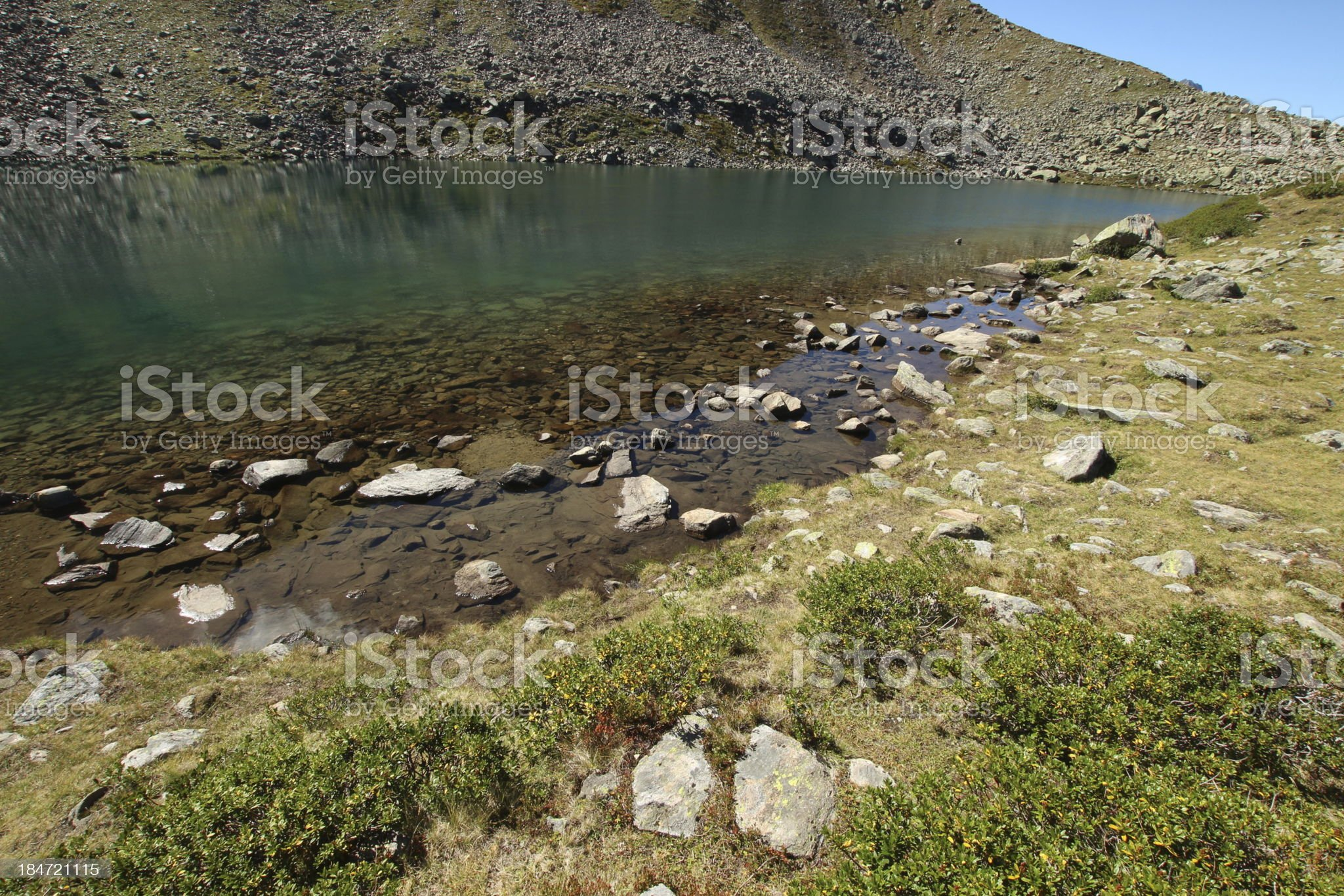 Alpine Mountain Lake Mittlerer Plenderlesee, K?htai, Tyrol, Austria royalty-free stock photo