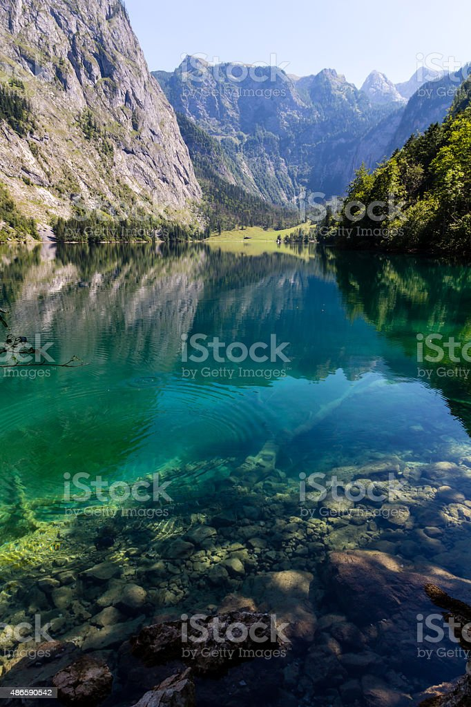 Alpine mountain lake Obersee in Summer, Konigsee, Germany stock photo