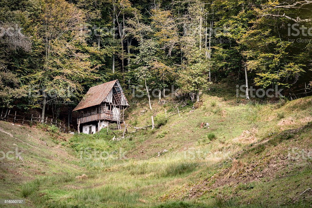 Alpine mountain landscape in autumn stock photo