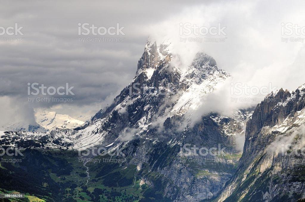 Alpine mountain range in Kleine Scheidegg, Switzerland stock photo