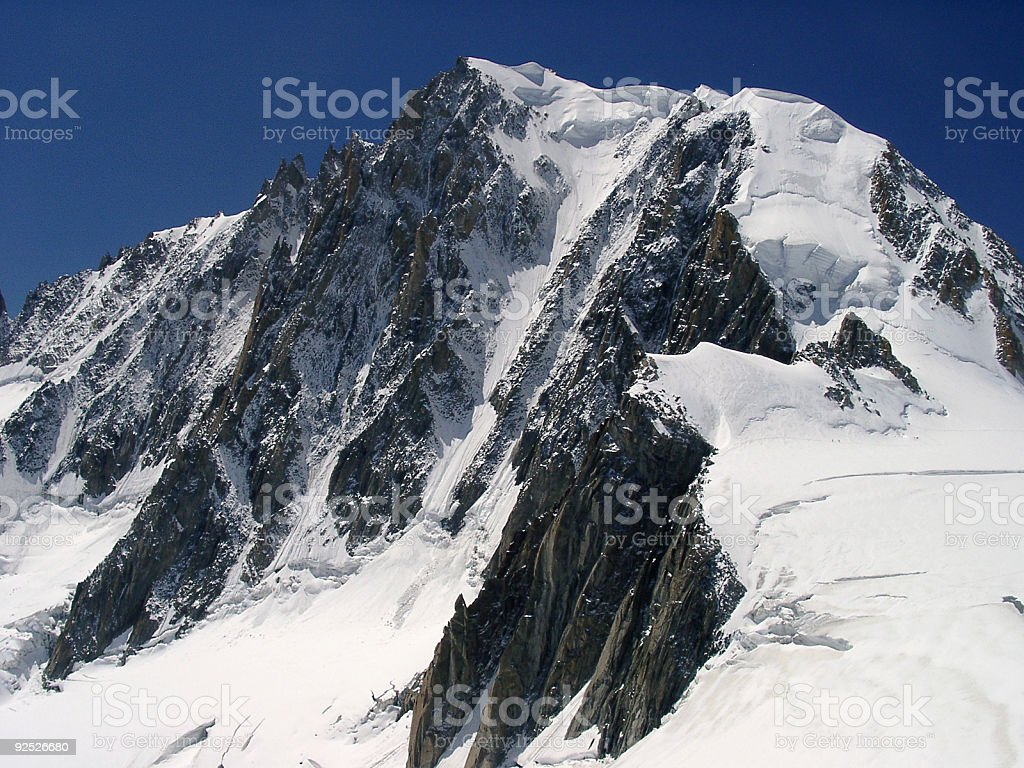Alpine mountain valley with snow and glacier royalty-free stock photo