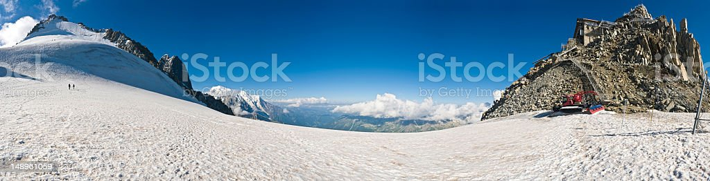 Alpine mountaineers snow station glacier col French Alps panorama royalty-free stock photo