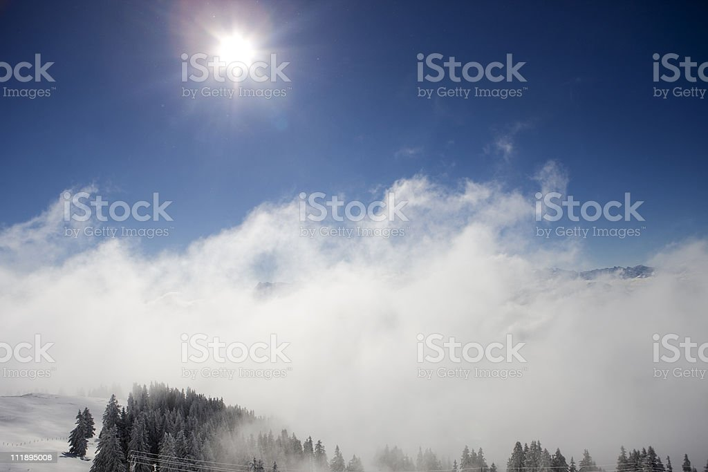 Alpine Mountains and Trees stock photo