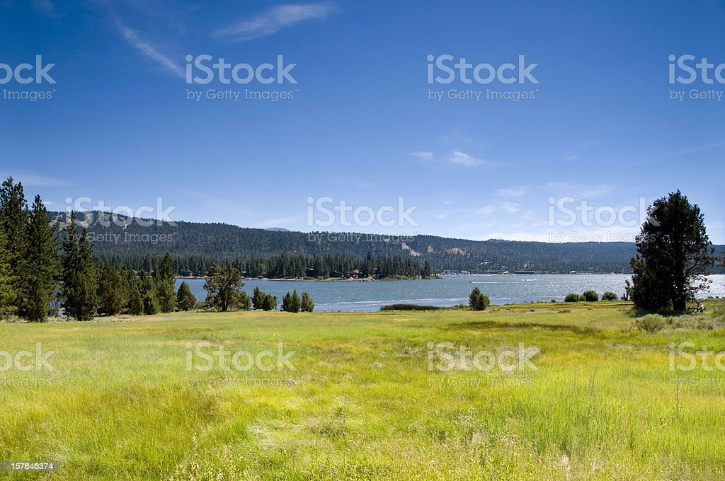 Alpine Mountian Lake and Meadow stock photo
