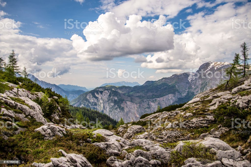 Alpine Panorama near Berchtesgaden stock photo