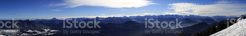 alpine panoramic view in winter royalty-free stock photo