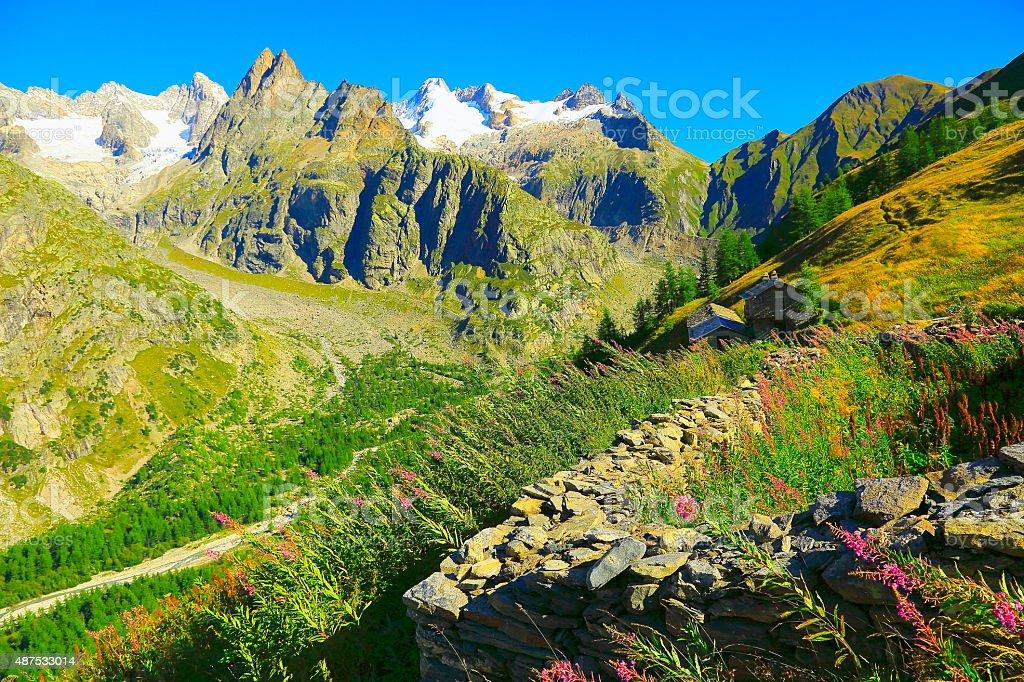 Alpine paradise! Mont Blanc Grandes Jorasses Aosta valley sunrise stock photo