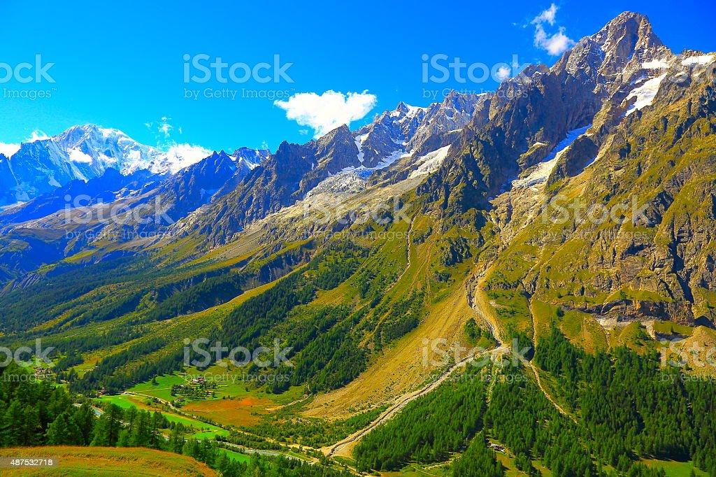 Alpine paradise! Mont Blanc landscape meadow, Italian Aosta Valley stock photo
