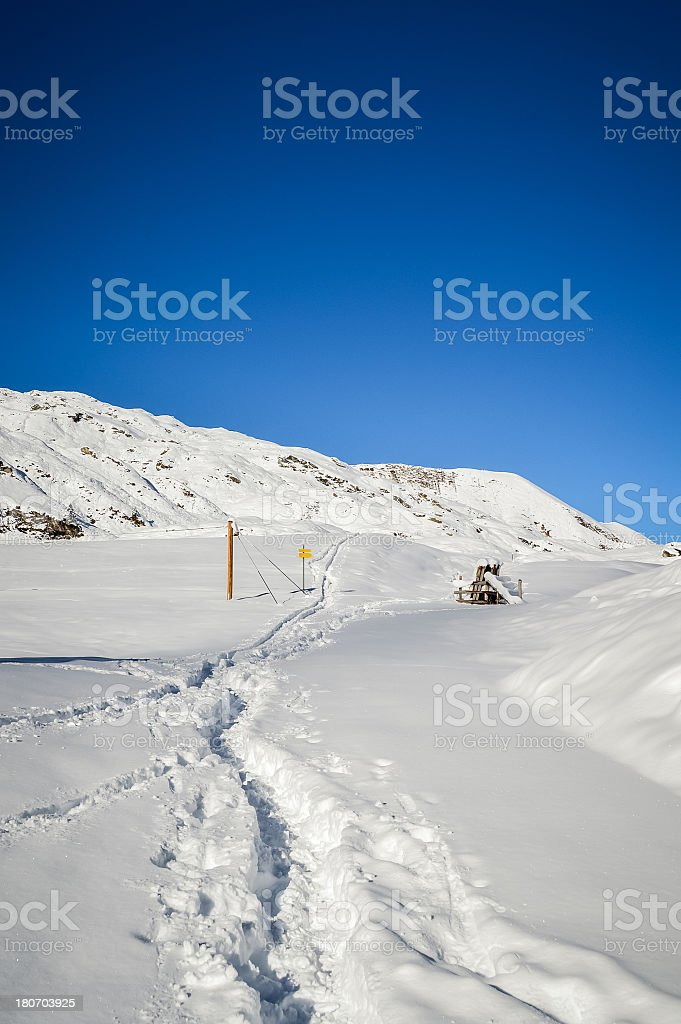Alpine Pathway in the Snow royalty-free stock photo