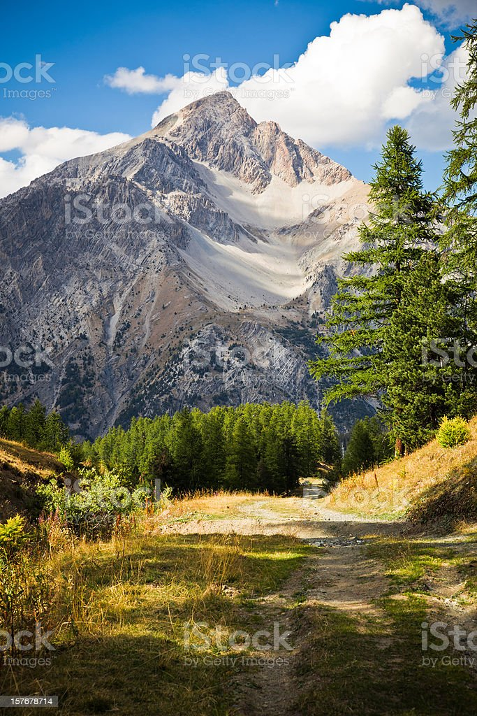 Alpine Peak Mountain Range in French Alps, Mount Chaberton stock photo