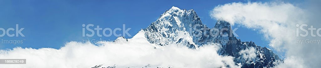 Alpine peaks panorama Aiguille Verte Les Drus Mont Blanc royalty-free stock photo