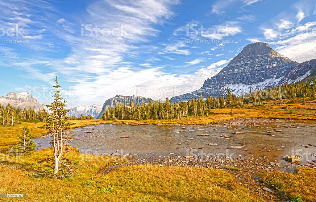 Alpine Pond on a Fall Day on a Mountain Pass stock photo